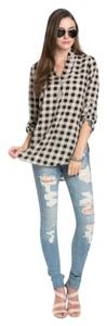 Plaid Boho V-neck Tunic