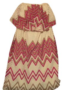 Judith March short dress Cream, tan, rasberry, burnt orange on Tradesy