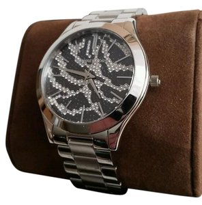 Michael Kors Collection Michael Kors MK Slim Runway Silver tone Zebra pave BLING Watch NEW