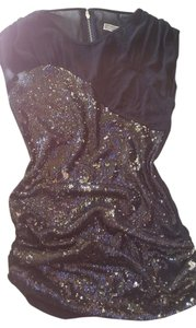 Lipsy Sequin Date Night Party Mesh Top Black