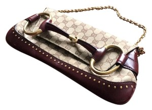 Gucci Khaki Logo With Burgundy Leather Clutch