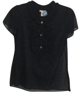 J.Crew Silk Ruffle Polka Dot Cotton Top Black