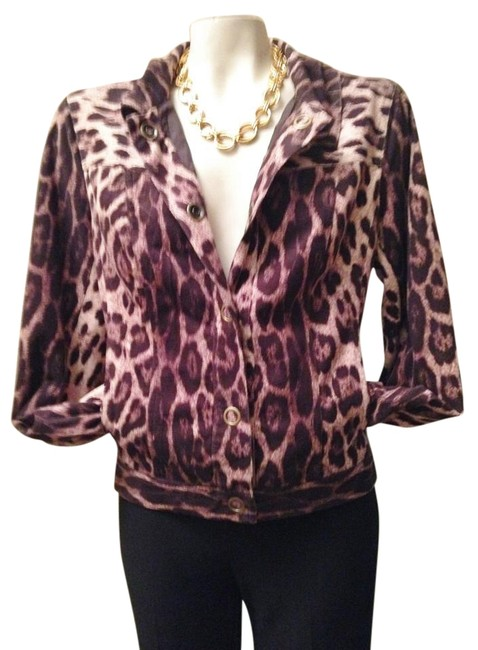 Item - Brown/Tan/Black Multi Fitted Sueded Jacket Size 12 (L)