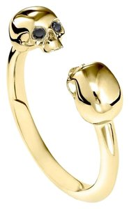 Iz & Co Double Skull Yellow Gold & Black Diamond Ring