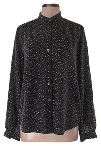 Club Monaco Silk Star Print Print Top Blue/White