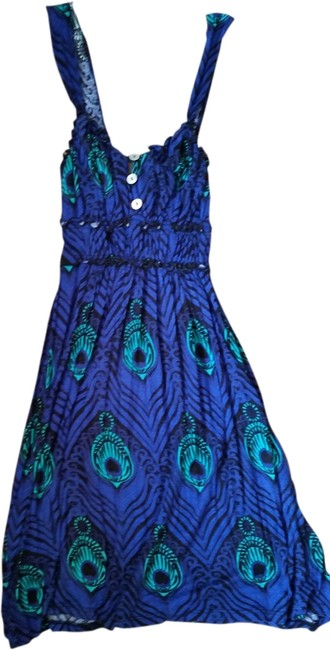 Lucy Love short dress Blue Feather Pattern Stretch Stretchy on Tradesy