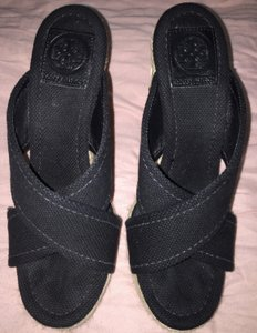 Tory Burch Wedges Espadrille Kristen Sandals Black Mules