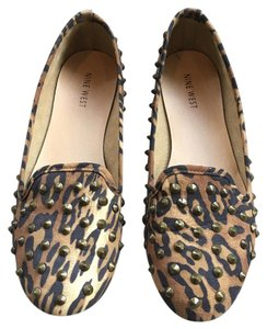 Nine West Animal Print Studded Slip On Multi Flats