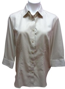Coldwater Creek Casual Button Down Shirt Beige