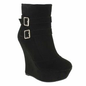 Red Circle Footwear High Wedge Platform Bootie Black Wedges