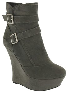 Red Circle Footwear High Platform Bootie Sexy Grey Wedges