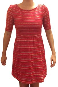 Francesca's short dress Red Shimmer Scoop Front Scoop Back Reversible High Neck on Tradesy