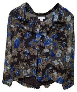Coldwater Creek Floral Accordion Pleats Top Brown and blue
