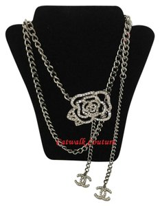 Chanel CHANEL SWAROVSKI CRYSTAL CAMELLIA NECKLACE BELT