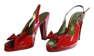 Paolo Open Toe Patent Leather Slingback Bow red Pumps