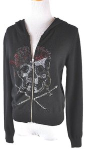 A&G by Amal Guessous Cashmere Zip Up Embellished Skeleton Hoodie Cardigan