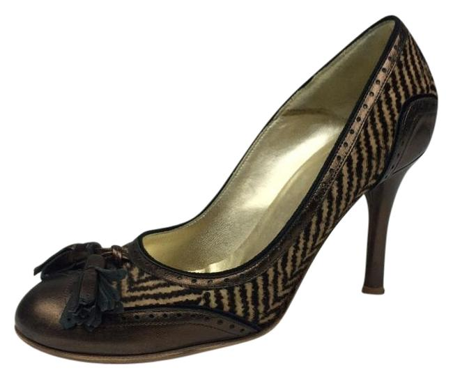 Item - Brown Pony Hair with Bronze Leather Trim Pumps Size US 6 Regular (M, B)