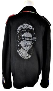 A&G by Amal Guessous God Save The Queen Embellished Wool Black Jacket
