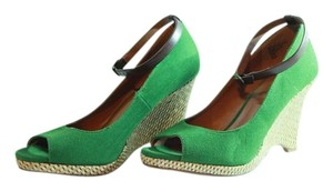Worthington Open Toe Ankle Strap Canvas green Wedges