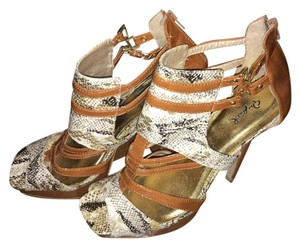 Qupid Tan, or Carmel with snake pattern Pumps