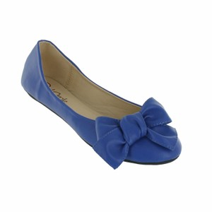 Red Circle Footwear Flat Ballerina Bow Blue Flats