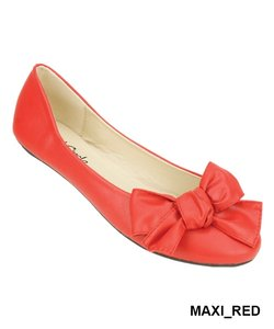Red Circle Footwear Ballerina Bow Cute Red Flats