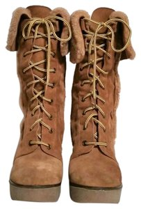 Via Spiga Suede Wedge Lace Up Platform tan Boots