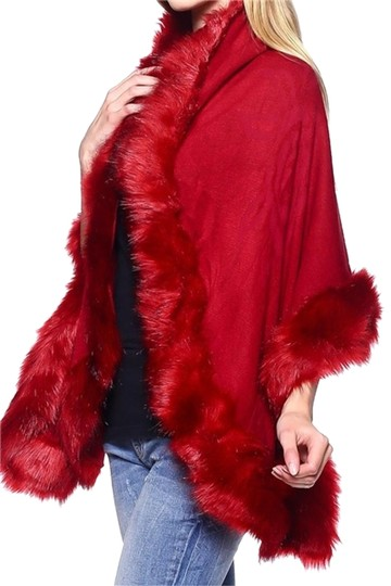Other Burgundy Red Fur Trim Shawl Wrap Cape