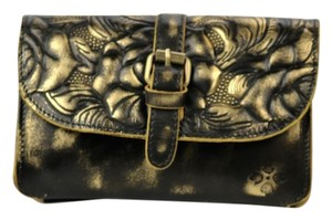 Patricia Nash Designs Italian Leather Torri Gold/brown Brown/ Gold Clutch