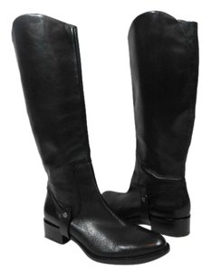 Via Spiga Leather Equestrian Black Boots