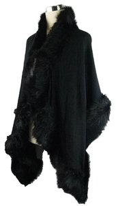 Black Fur Trim Shawl Wrap Cape