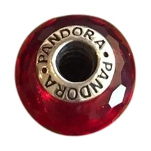 PANDORA Pandora retired sterling faceted red venetian glass charm