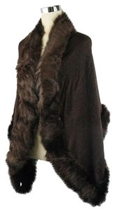 Brown Fur Trim Shawl Wrap Cape
