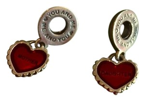 PANDORA Pandora retired sterling & red mother daughter matching heart charms