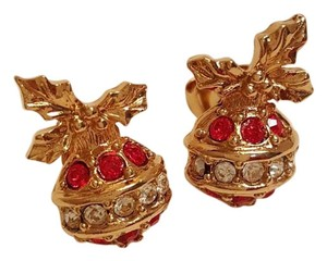Avon Sparkling Christmas Ornament Red Crystals Earrings