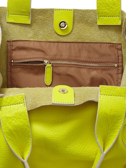 Gap Leather Pouch Neon Tote in Yellow