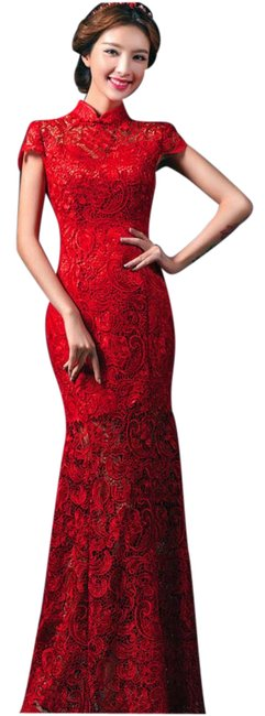 Item - Red Lace Cheongsam Traditional Wedding Dress Size 6 (S)