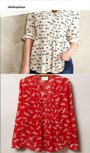 Anthropologie Button Down Shirt Red/White