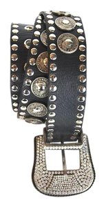 Vera Belle Vera Belle Black Leather Crystal Embellished Coin Detail Belt S/M