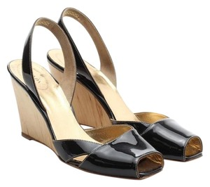 Prada Leather Peep Toe Black Patent Wedges