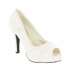 Red Circle Footwear Peep Toe Pleated Pump White Platforms