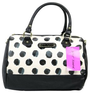 Betsey Johnson Pink Interior Dots Satchel in Black/White