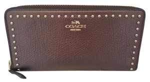 Coach NEW COACH gold studded stud Leather long Wallet METALLIC Bronze