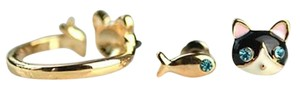 Other Cat Fish Adjustable Gold Ring & Cat Fish Stud Earring set
