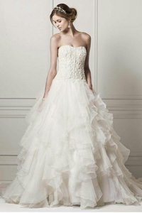 Oleg Cassini Strapless Ball Gown With Organza Ruffle Skirt Wedding Dress
