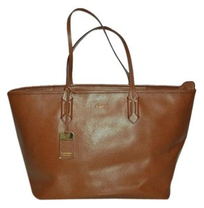 Lauren Ralph Lauren Monogram Leather Shopper Travel Tote in Brown 978735151bf02