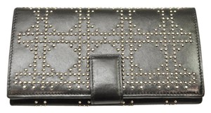 Dior Black Studded Lady Dior Cannage Long Wallet