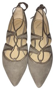 Brian Atwood Lace Up Suede Ballet Tan/ grey Flats