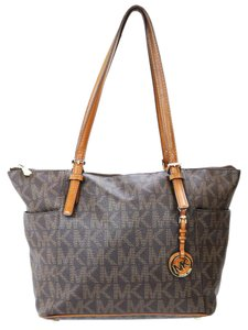 Michael Kors Jet Set Canvas Tote in Brown