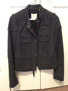 Rebecca Taylor Leather Suede Navy Leather Jacket